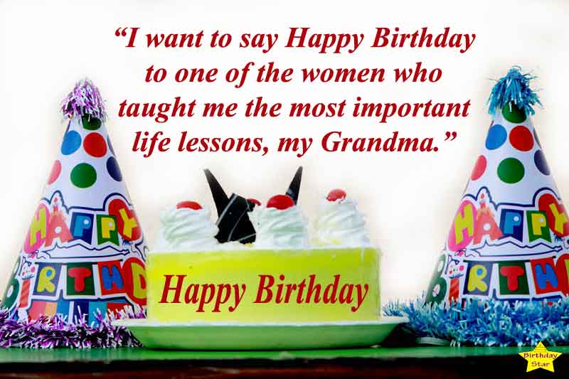 Grandma Birthday Quotes with Birthday Cap.