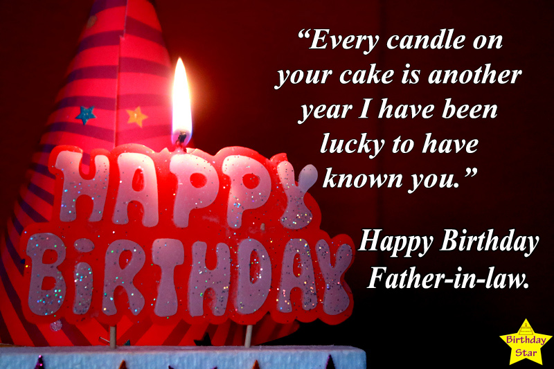 birthday quotes for father in law with candle