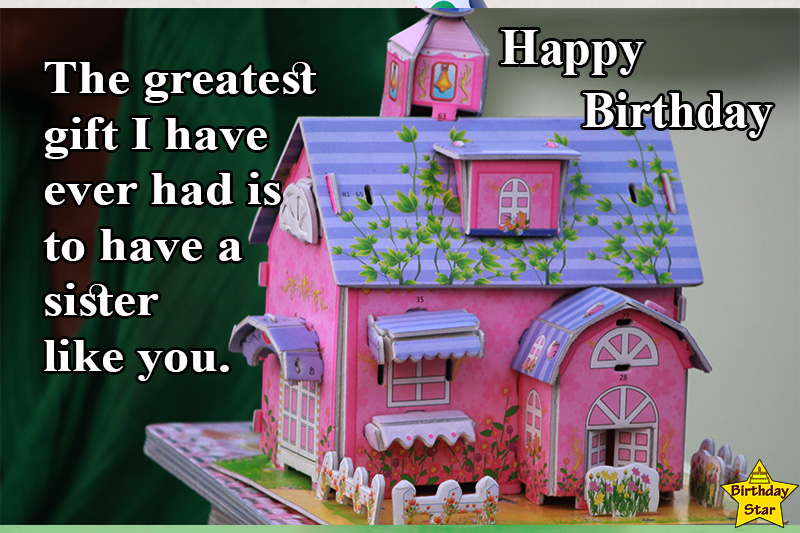 birthday quotes for younger sister with toy home