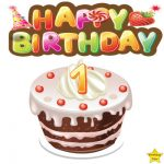 1st Happy birthday cake clipart