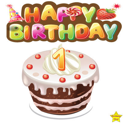 1st Happy birthday cake clipart