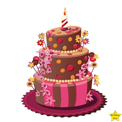 1st birthday cake clipart three layers