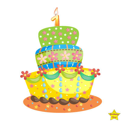 1st happy birthday cake clipart green