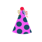 Birthday Cap Clipart Pink and green color