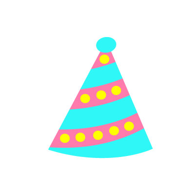 Birthday Cap Clipart yellow and sky blue color