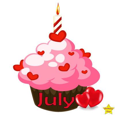 Birthday Cupcake Clipart July