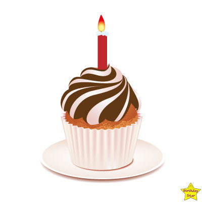Birthday Cupcake Clipart One Candle