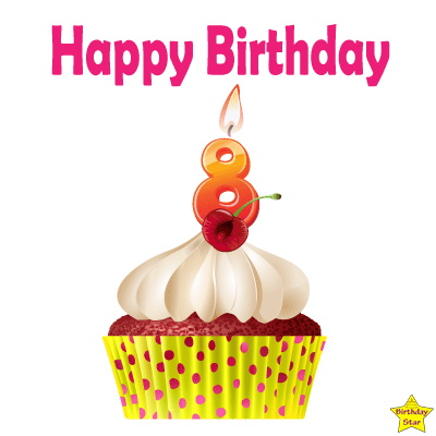 Birthday Cupcake Clipart With Eight Number Candle