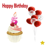 Birthday Cupcake Clipart With Five Number Candle