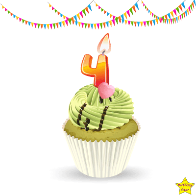 Birthday Cupcake Clipart With Four Number Candle