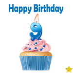 Birthday Cupcake Clipart With Nine Number Candle