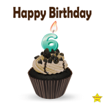 Birthday Cupcake Clipart With Six Number Candle
