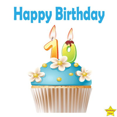 Birthday Cupcake Clipart With Ten Number Candle