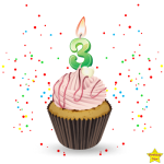 Birthday Cupcake Clipart With Three Number Candle