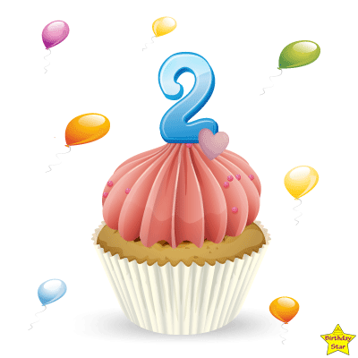 Birthday Cupcake Clipart With Two Number Candle