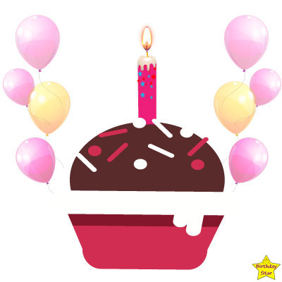 Birthday Cupcake Clipart with pink balloons
