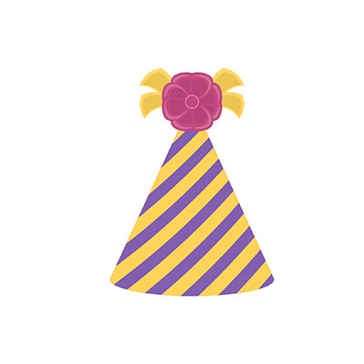 Birthday Hat Clipart Yellow and purple