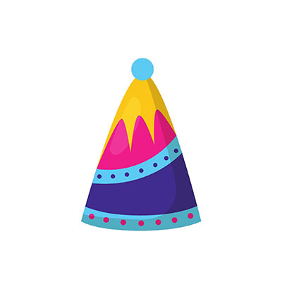 Birthday Hat Clipart blue pink yellow