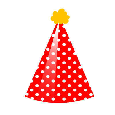 Birthday Hat Clipart red white yellow