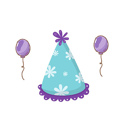 Birthday Hat Clipart with balloons