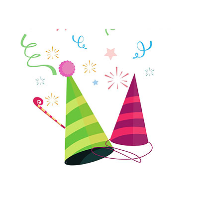 Birthday two Hat Clipart with poppers