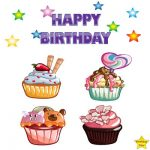 Happy Birthday 4 Different Cupcake Clipart