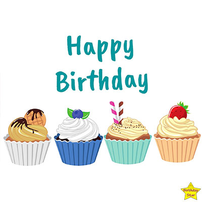 Happy Birthday 4 different colorful Cupcake Clipart