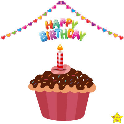 Happy Birthday Cupcake Clipart Brown