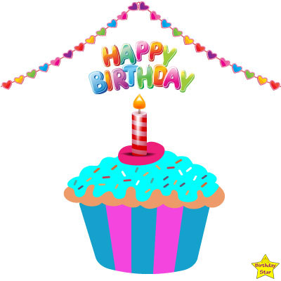 Happy Birthday Cupcake Clipart Colorful