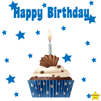 Happy Birthday Cupcake Clipart PNG blue Color
