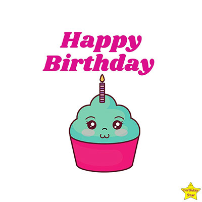Happy Birthday Cupcake Clipart Smily Face