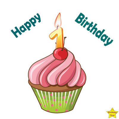 Happy Birthday Cupcake Clipart With One Number Candle