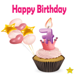 Happy Birthday Cupcake Clipart With Seven Number Candle