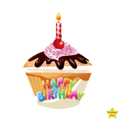 Happy Birthday Cupcake Clipart candle on the top