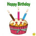 Happy Birthday Cupcake Clipart three candles