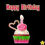 Happy Birthday Cupcake Clipart transparent