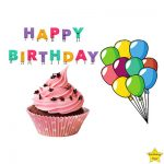 Happy Birthday Cupcake Clipart with colourful balloons