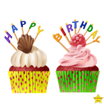 Happy Birthday Two Cupcake Clipart PNG