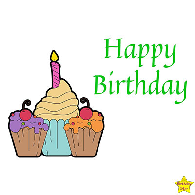 Happy Birthday three different size Cupcake Clipart