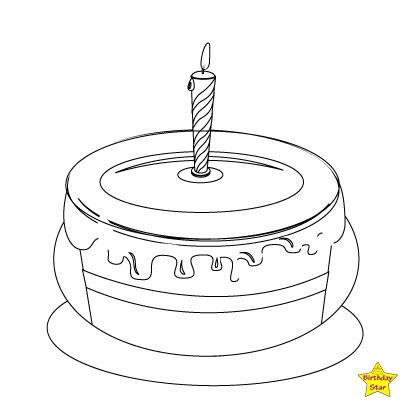 Happy birthday cake clipart black and white 1 candles