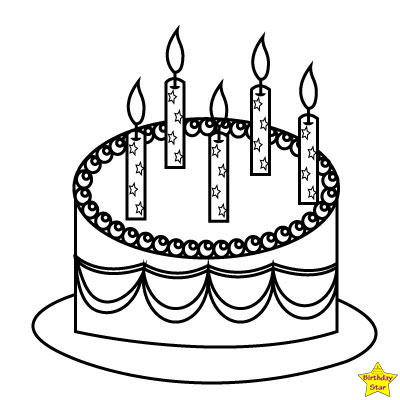 Happy birthday cake clipart black and white 5 candles