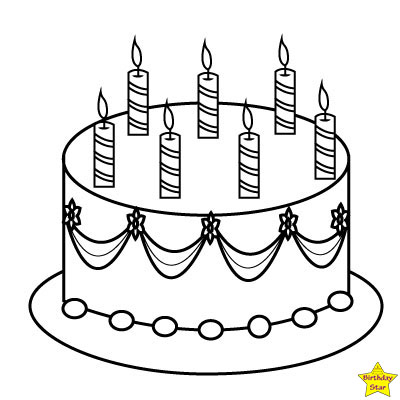 Happy birthday cake clipart black and white one layer 5 candles