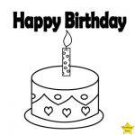 Happy birthday cake clipart black and white one layer one candles