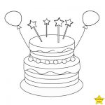 Happy birthday cake clipart black and white with balloon