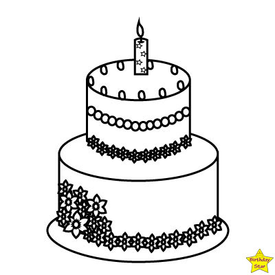 Happy birthday cake clipart black and white wo layers