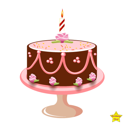 Happy birthday cake with 1 candles clipart