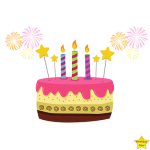 birthday cake with 3 candles clipart