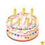 birthday cake with 6 candles clipart