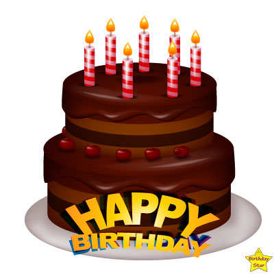 birthday cake with 7 candles clipart