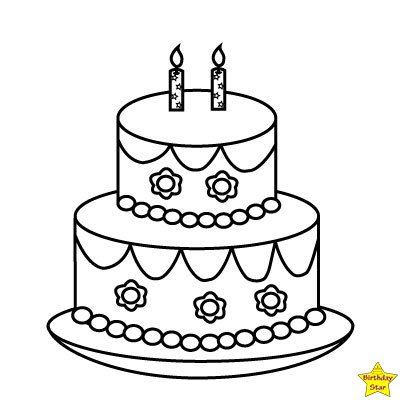 black and white birthday cake clipart two layers
